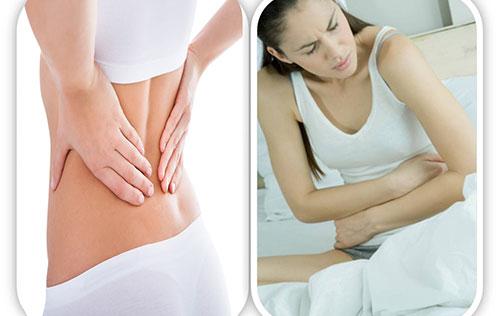 đau bụng, đau lưng là một trong những triệu chứng của u xơ tử cung